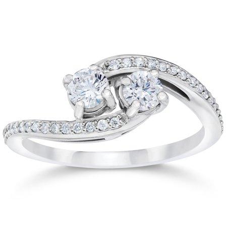 1 2 Carat 2 Stone Forever Us Diamond Engagement Anniversary Ring 10K White Gold
