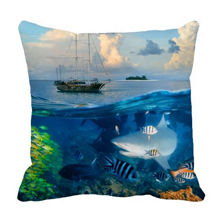 PHFZK Ocean Pillow Case, Shark Fish Reef Underwater World Pillowcase Throw Pillow Cushion Cover Two Sides Size 18x18 -