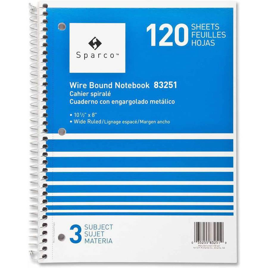 Sparco Quality Wirebound 3-Subject Notebook, Assorted Colors