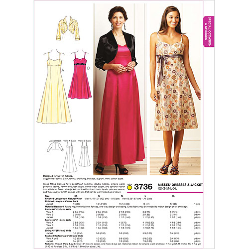 Kwik Sew Pattern Dresses and Jacket, (XS, S, M, L, XL)