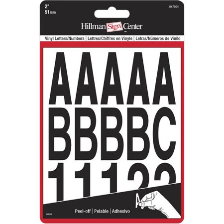 Hillman Group 847004 2 in. Black Glossy Vinyl Die Cut Self Adhesive Letters & Numbers - 5