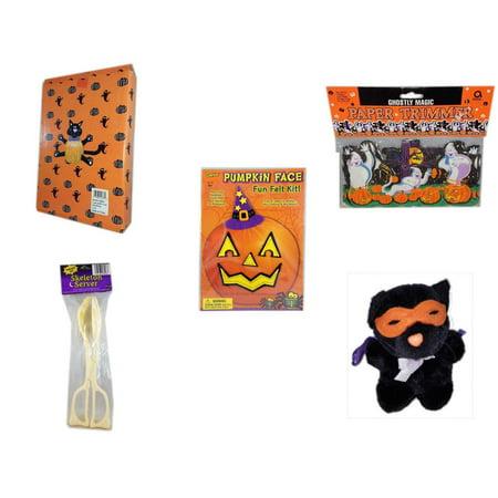 Halloween Fun Gift Bundle [5 Piece] -  Cat Pumpkin Push In 5 Piece Head Arms Legs - Ghostly Magic Paper Trimmer 3.75 in x 9 ft. - Darice Pumpkin - Halloween Pumpkin Cat Face