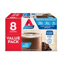 Atkins Gluten Free Protein-Rich Shake, Dark Chocolate Royale, Keto Friendly, 8 Count (Ready to Drink)