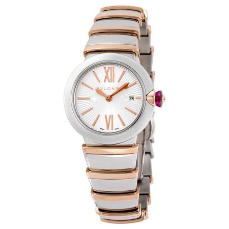LVCEA Silver Opaline Dial 18kt Pink Gold and Stainless Steel Ladies Watch - Bvlgari 102193