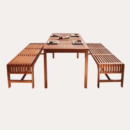 Malibu Outdoor 3-piece Wood Patio Dining Set with Backless - Beach Outdoor Dining Set