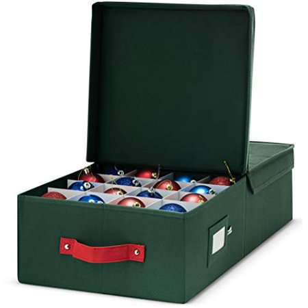 "Material Box - Underbed Christmas Ornament Storage Box - 600D oxford material with Lid, And Dividers, Holds up To 64 Round Ornaments - 24"" x 12"" x 6"" - Green"