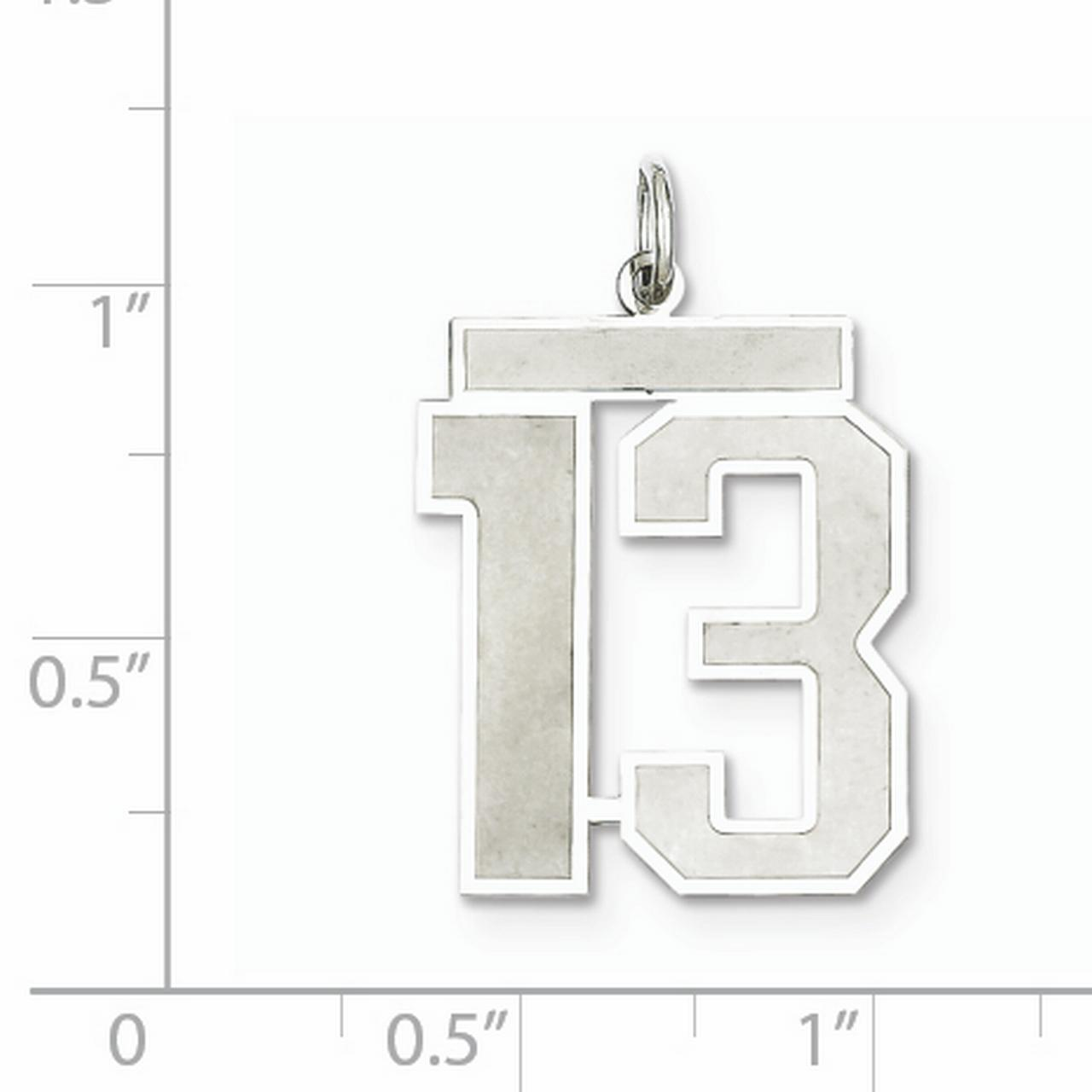 Sterling Silver Rhodium-plated Large Satin Number 13 Charm QPP13 (25mm x 21mm) - image 1 of 2