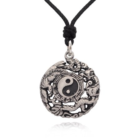 Ying Yang Dragons - Phoenix Dragon Yin Yang Silver Pewter Charm Necklace Pendant Jewelry With Cotton Cord