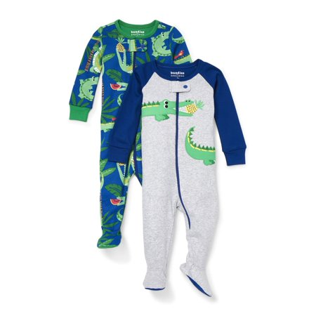 Blue Long Sleeve Sleeper (Long Sleeve Snug-Fit Footed Stretchie Pajamas, 2pk (Baby Boys & Toddler)