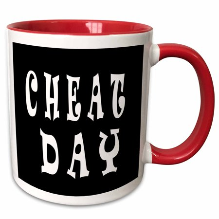 3dRose Cheat Day. Black and white. - Two Tone Red Mug, 11-ounce - Home Design Halloween Cheats