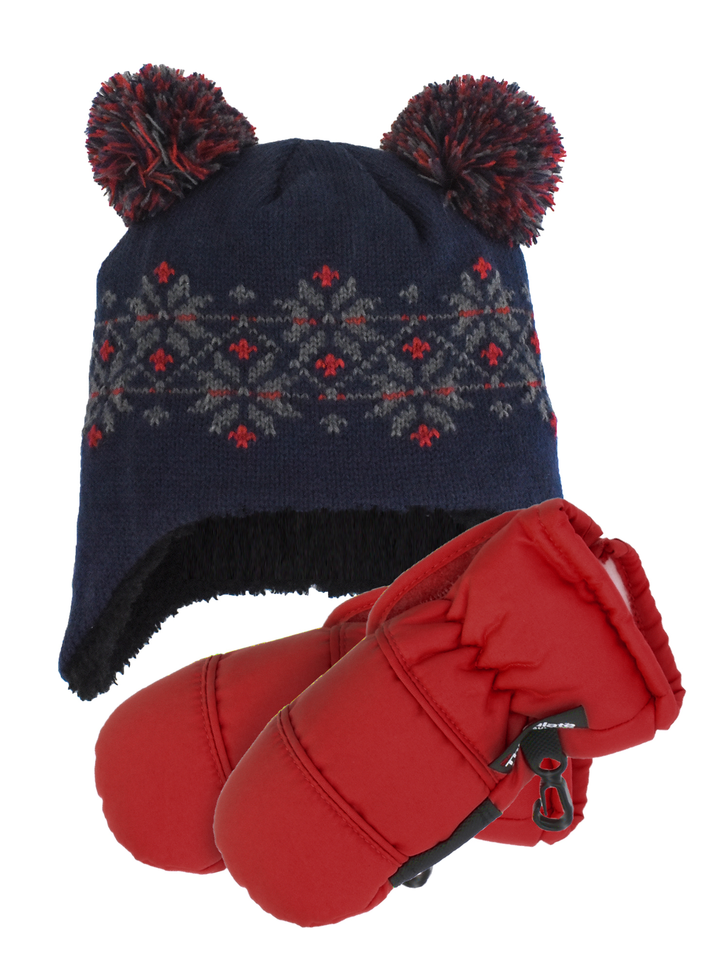 Cold Front Infant Double Pom Fair Isle Helmet and Infant Sports Mitten (0-24 Months)