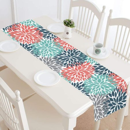 MKHERT Dahlia Pinnata Flower Teal Coral Gray Table Runner Home Decor for Kitchen Dining Wedding Party 16x72 Inch