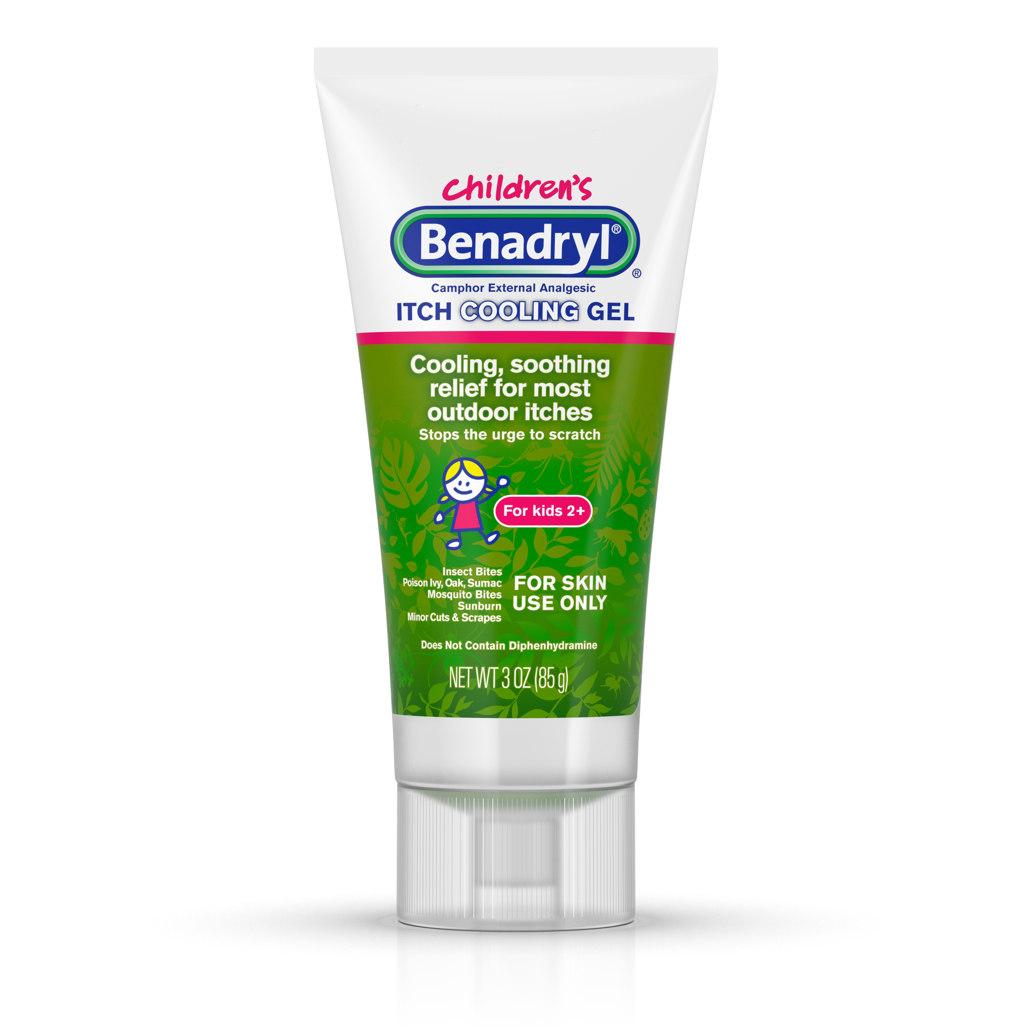 Benadryl Anti-Itch Camphor Cooling Gel for Kids, Travel Size, 3 oz