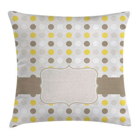 Grey and Yellow Throw Pillow Cushion Cover, Abstract 60s 50s Inspired Home Decor Polka Dots Image, Decorative Square Accent Pillow Case, 16 X 16 Inches, Light Brown Marigold and White, by Ambesonne](60s Decor)