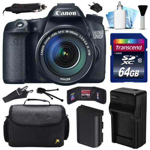 Canon EOS 70D DSLR SLR Digital Camera w/ 18-135mm STM Lens (64GB Value Bundle)