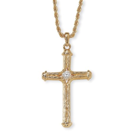 Crystal Decorative Cross Pendant Necklace in Yellow Gold Tone (Crystal Gold Tone Pendant)