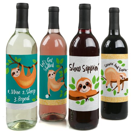 Let's Hang - Sloth - Baby Shower or Birthday Party Decorations for Women and Men - Wine Bottle Label Stickers - Set of 4