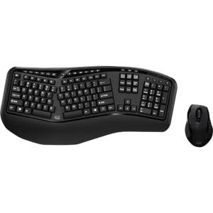 Adesso Tru-Form Media 1500 - Wireless Ergonomic Keyboard & Laser Mouse - USB Wireless RF Keyboard - 105 Key - English (US) - Black - USB Wireless RF Mouse - Laser - 1600 dpi - Black (PC) LASER MO