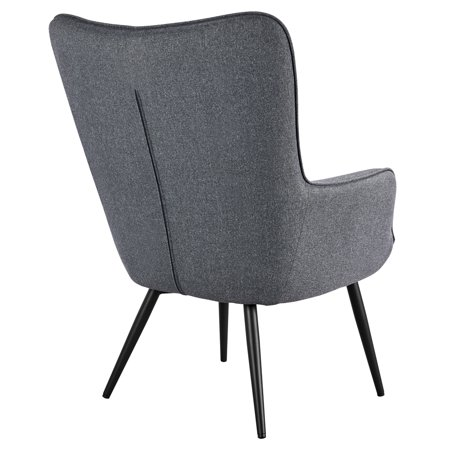 Modern and Contemporary Fabric Accent Chair and Ottoman Set Gray