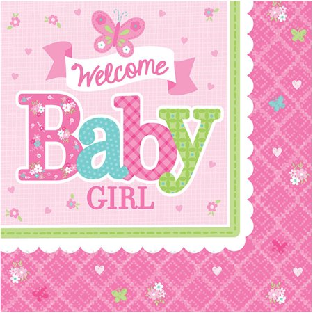 Welcome Little One Baby Shower (Welcome Little One Girl Luncheon Napkin (16 Count) - Baby Shower Party)