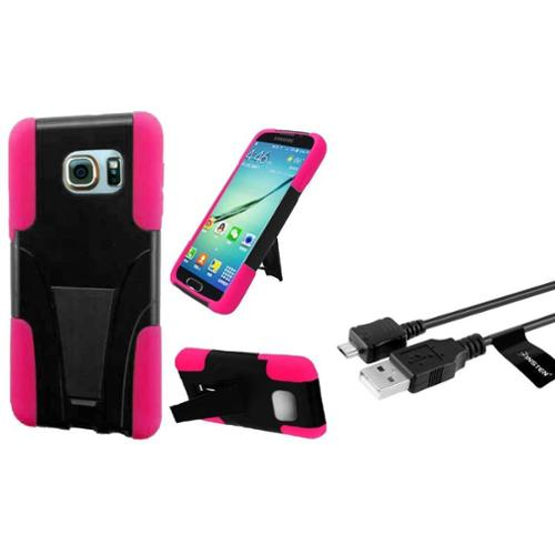 Insten Hard Hybrid Case w/stand For Samsung Galaxy S6 Edge Plus - Black/Hot Pink (with USB Cable)