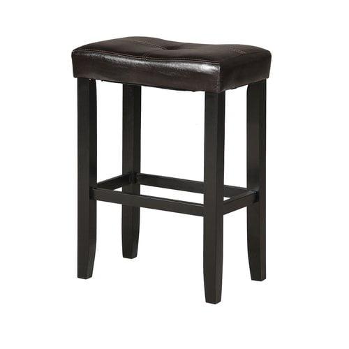ACME Micha Bar Stool, Black PU & Black (Set of 2) by Overstock