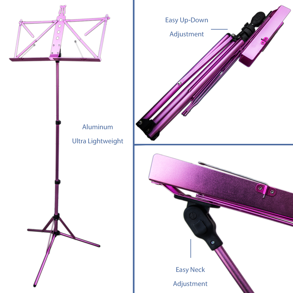 Paititi Brand New Strong Durable Adjustable Folding Music Stand with Carrying Bag-Pink