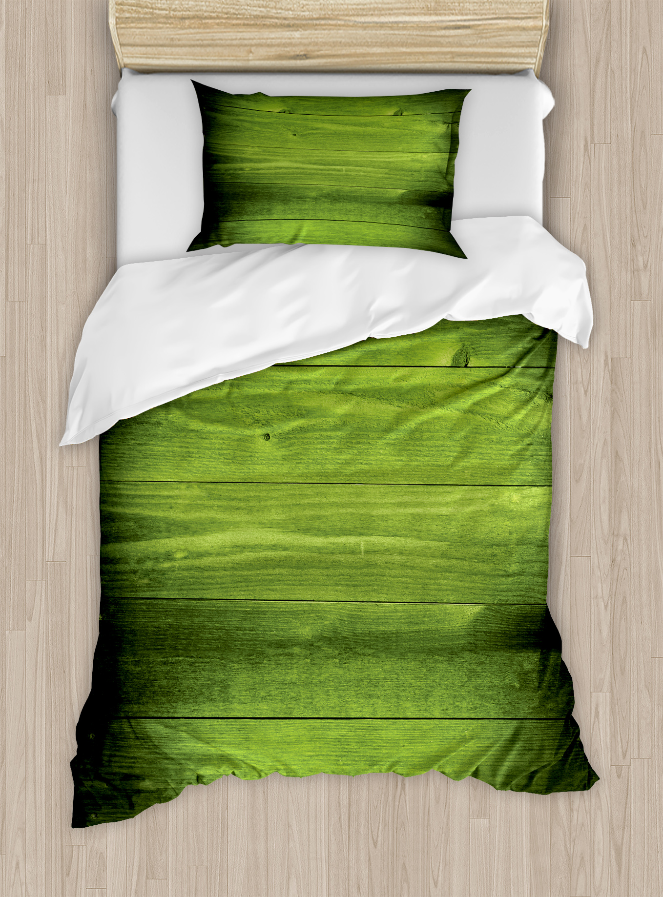 Forest Green Twin Size Duvet Cover Set, Horizontal Wooden