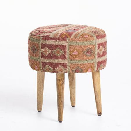 Mirna Fabric Stool With Mango Wood Frame  Multi Colored