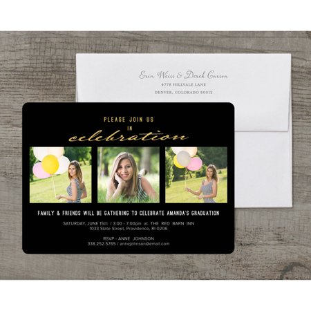 Classic Stripes Deluxe Graduation Invitation (Black And White Party Invitations)