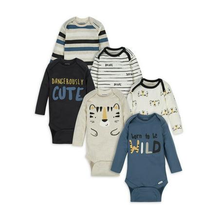 Onesies Brand Baby Boy Long Sleeve Bodysuits, 6-Pack