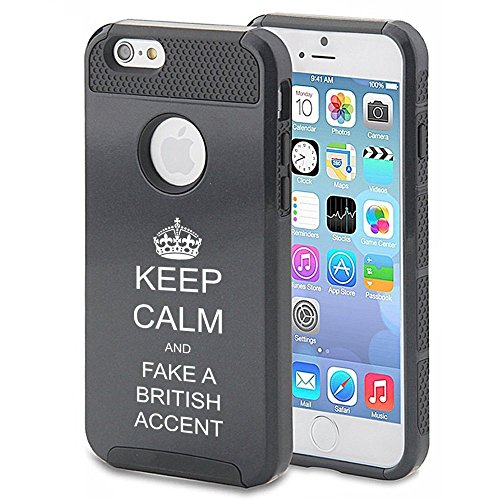 Apple iPhone 5 5s Shockproof Impact Hard Case Cover Keep Calm And Fake British Accent (Black),MIP
