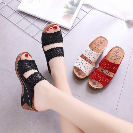 Summer Women's Shoes Hollow Leather Slippers Casual Wedge Heel Slippers Loafers Female - image 1 of 1