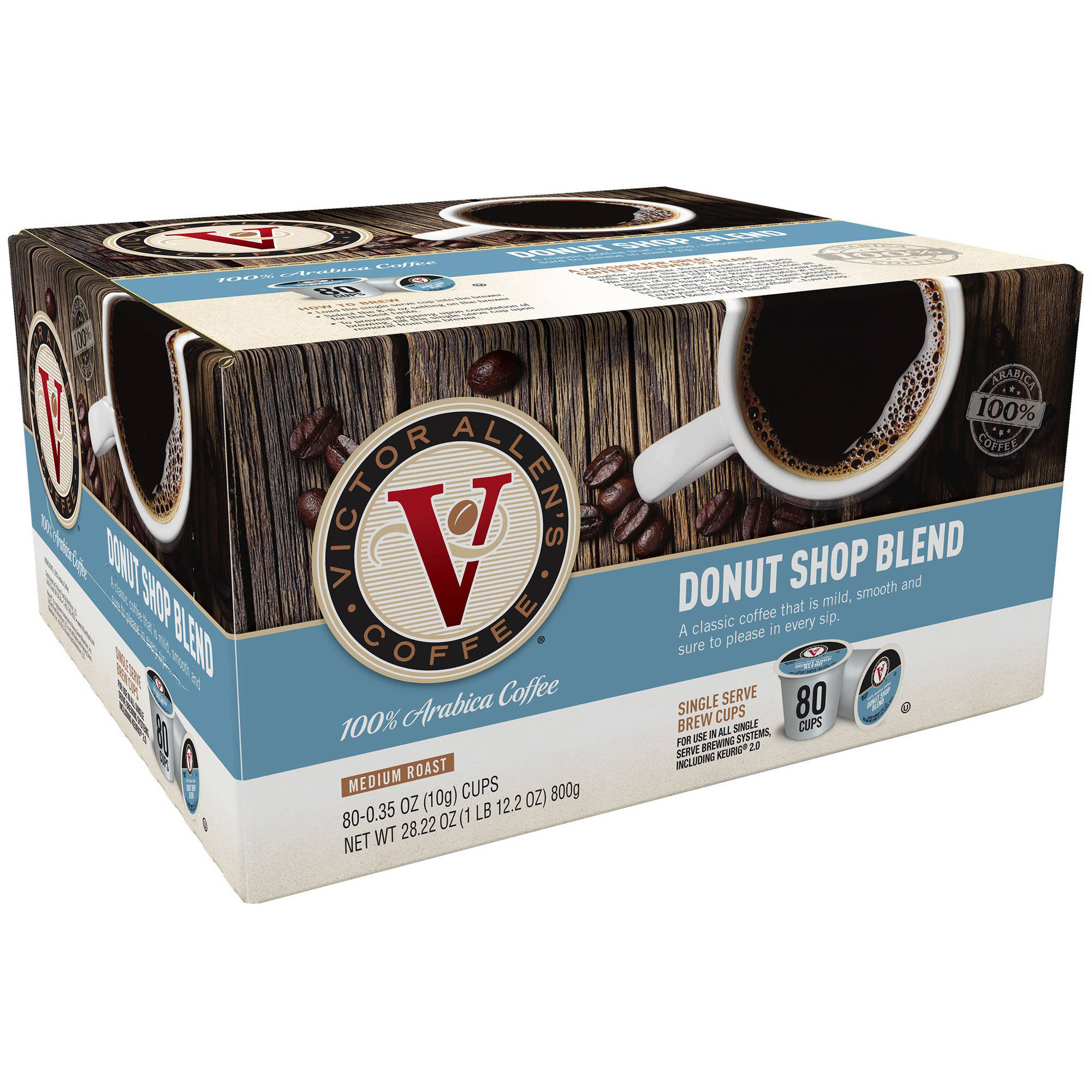 Victor Allen's Coffee Donut Shop Blend Medium Roast Single Serve Brew Cups, 0.35 oz, 80 count