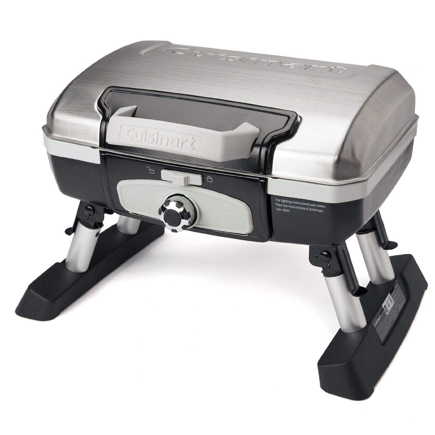 Cuisinart Petit Gourmet Portable Tabletop Outdoor LP Gas Grill, Silver/Black