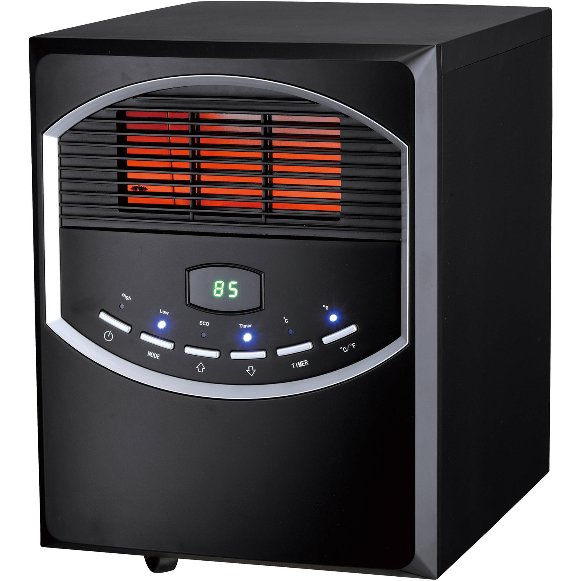 Soleil Infrared 4-Element Quartz Electric Room Heater with Remote, 750/1500 Watt, Black Metal Cabinet with Wheels PH-91S