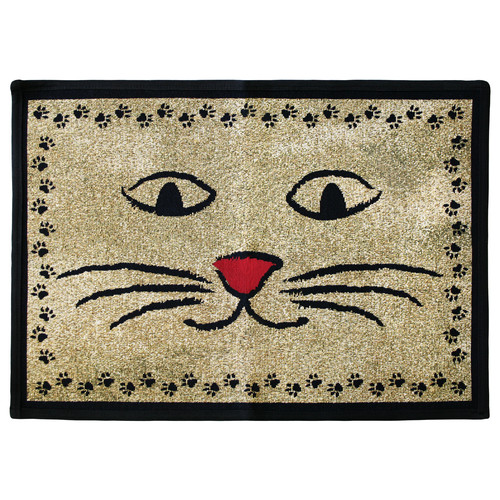 Park B Smith Ltd PB Paws & Co. Gold / Black Kitty Whiskers Tapestry Indoor/Outdoor Area Rug