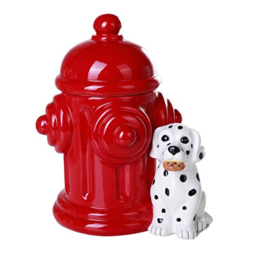 Click here to buy Firehouse Dalmatians and Fire Hydrant Ceramic Cookie Jar Kitchen Counter Decor 8.5 Inch Tall.