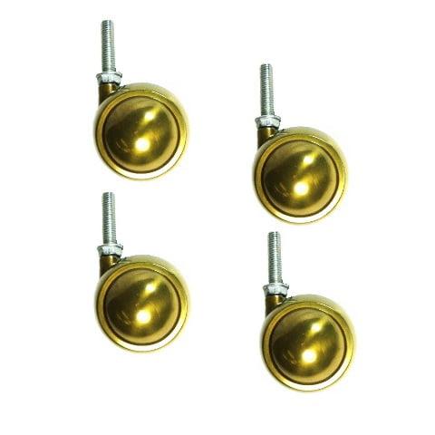 "Set of 4 Brass Planet Swivel Ball Casters 2-1/2"" w/ 3/8"" - 16 x 1-1/2"" Threaded"