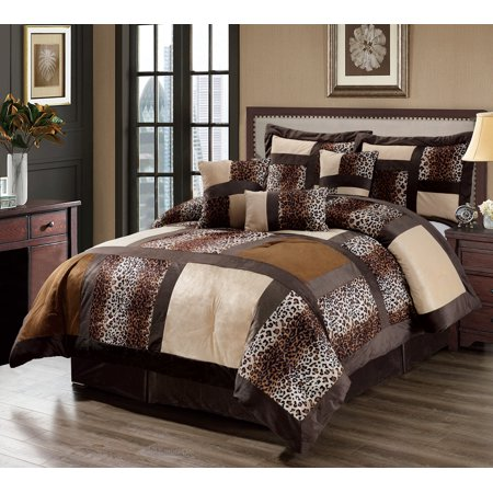 11 Piece Leopard Patchwork Faux Fur Microfiber Bed in a Bag w/500TC Sheet Set