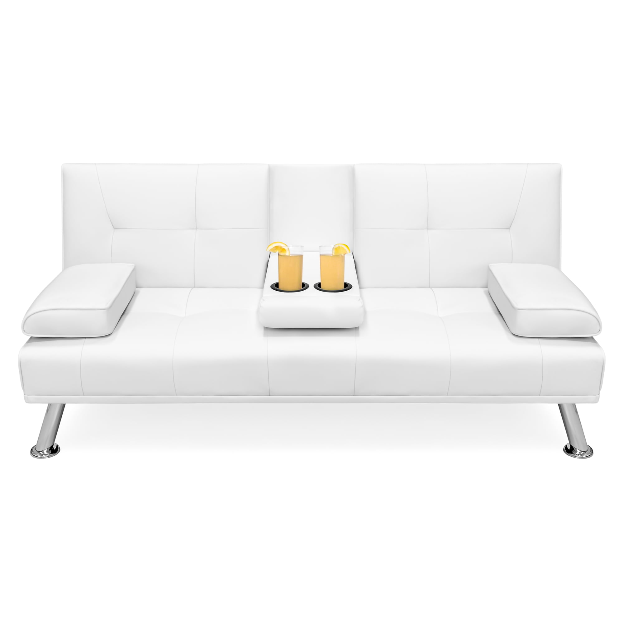 Pleasing Best Choice Products Modern Faux Leather Futon Sofa Bed Fold Up Down Recliner Couch W Cup Holders White Walmart Com Gmtry Best Dining Table And Chair Ideas Images Gmtryco