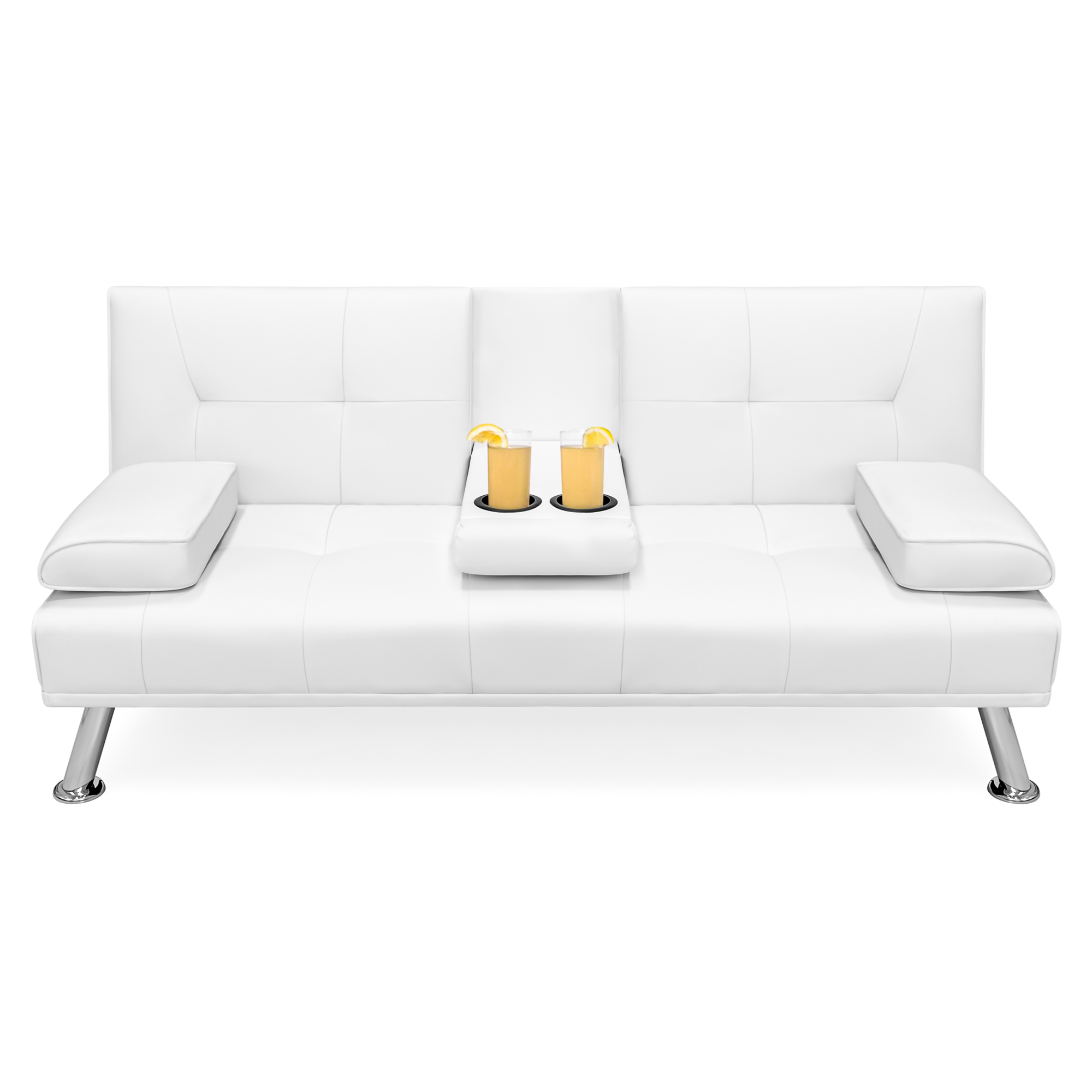 Best Choice Products Modern Faux Leather Futon Sofa Bed Fold Up &...
