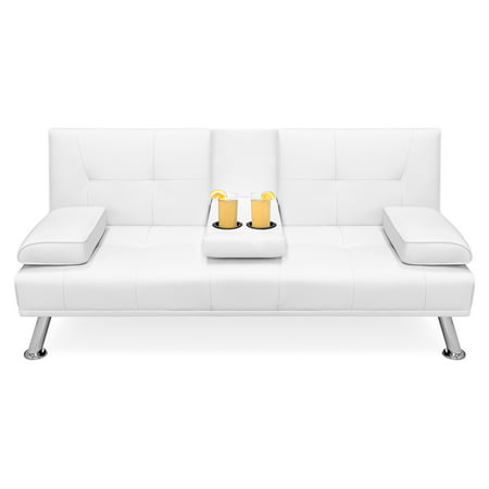 Best Choice Products Modern Faux Leather Futon Sofa Bed Fold Up & Down Recliner Couch w/ Cup Holders - White