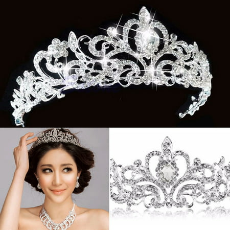 Small Plastic Tiaras (Bridal Princess Austrian Crystal Hair Tiara Wedding Crown Veil Headband for Wedding)