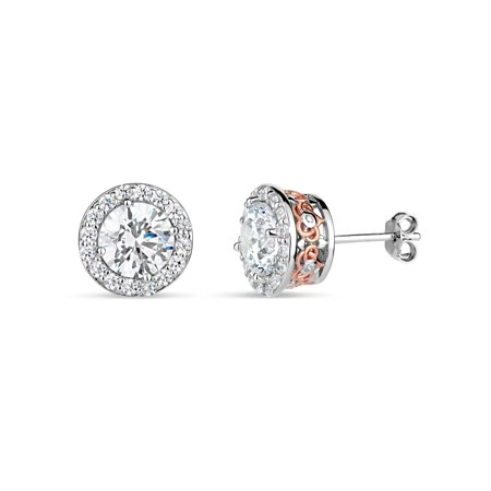 18k Rose Stud - Round White Cubic Zirconia Sterling Silver and 18k Rose Gold Over Sterling Silver Filigree Sides Halo Stud Earrings
