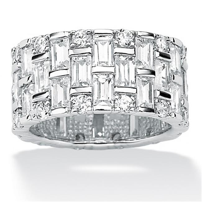 PalmBeach Jewelry 477378 5. 12 TCW Round and Baguette Cubic Zirconia Platinum Over Sterling Silver Eternity Band - Size 8