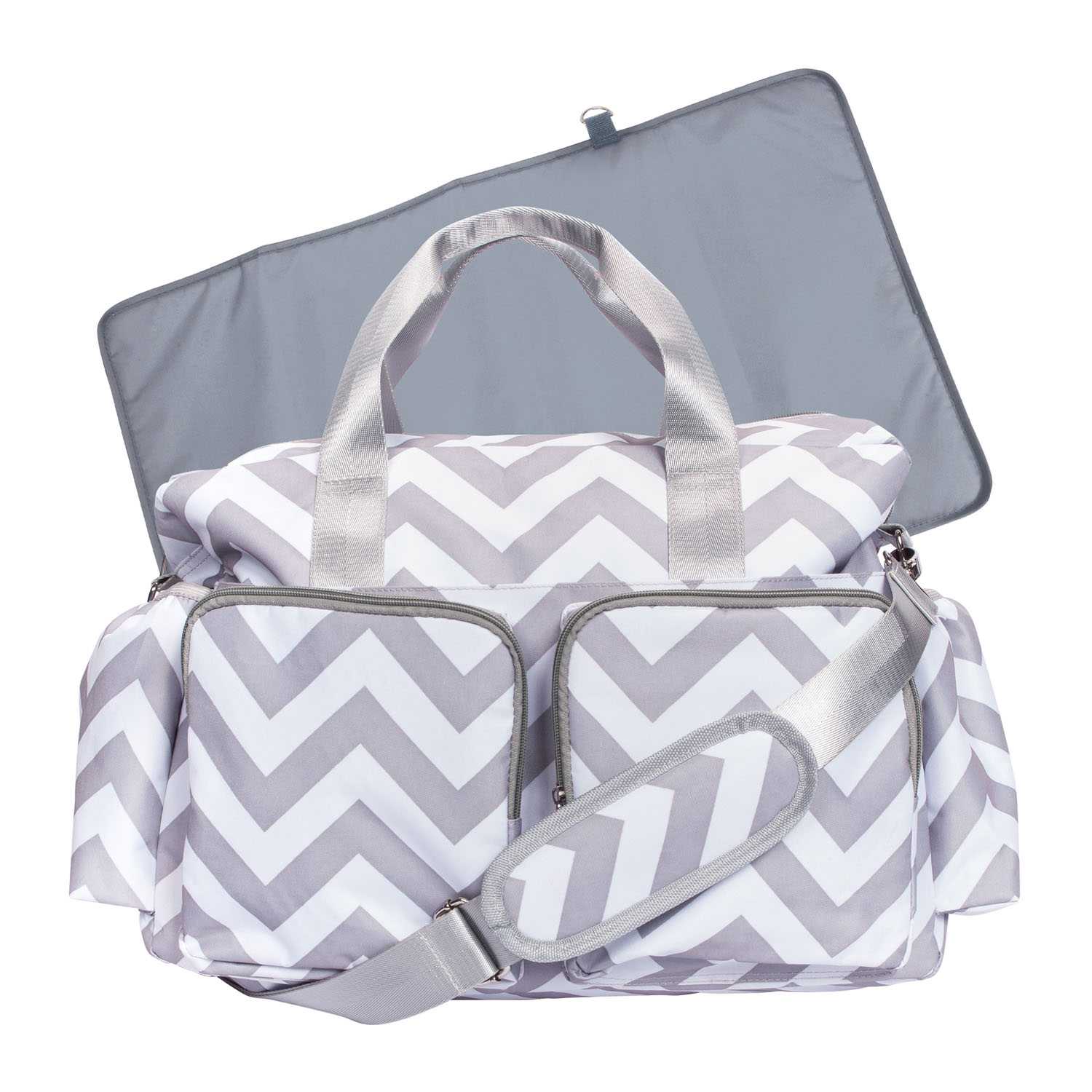 Trend Lab Chevron Deluxe Duffle Diaper Bag with Changing Pad, White/Gray