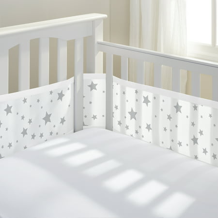BreathableBaby® Classic Breathable® Mesh Crib Liner- Star Light White & Gray