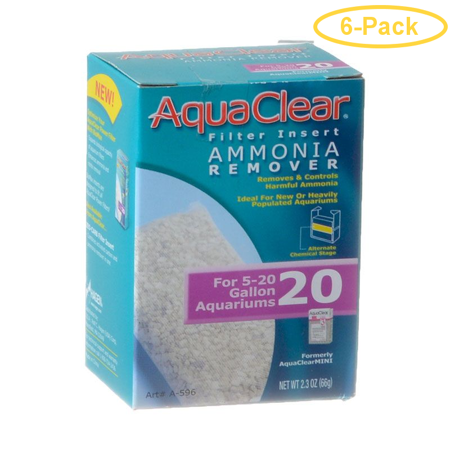 Aquaclear Ammonia Remover Filter Insert For Aquaclear 20 Power Filter - Pack of 6