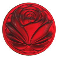 Stained Glass Jewels - 40mm Cut Rose - Red, Crystal Clear Clairity. By Stallings Stained Glass Ship from US